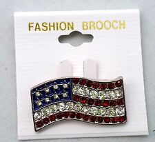 Us Wholesale Lot 12 American Flag Pins Brooches Rhinestone Patriotic Jewelry Usa
