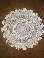 """Antique Doily Doilies Round Daisy Chain Table Scarf 12"""" Scalloped Edges ❤️tb11j"""