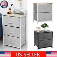 2/3 Drawers Bedside Table Night Stand Storage Unit Cabinet Bedroom Fabric Drawer