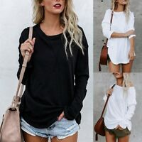 Fashion Women Long Sleeve Chic Blouse Casual Loose Round Neck Tops T-shirt