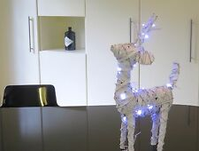 Xmas display new white Reindeer 50cm tall 35cm long & 20 lights 3 AA batteries