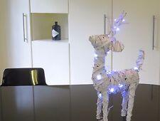 Natale Display Nuovo Bianco Renna alto 50cm lungo 35cm e 20 LUCI 3 batterie AA
