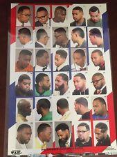 24 X 36 BARBER SHOP POSTER MODERN HAIR STYLES AFRICAN AMERICAN MEN NEW