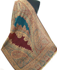 Wool Shawl Great Gift Turquoise Paisley Jamavar Kashmir Stole Pashmina Hand Cut