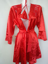 SEXY LACE SILKY Ladies NIGHTDRESS NIGHTWEAR DRESSING GOWN G-STRING size 10 12NR3