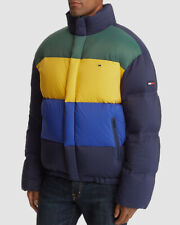 $317 Tommy Hilfiger Mens Blue Colorblock Down Coat Logo...
