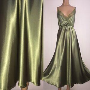 "2X SHINY Green LIQUID SATIN Slip Night Gown 44-48"" Bust Polyester Beautiful Vtg"