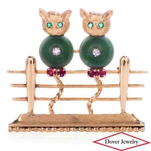 Antique Diamond Jade Ruby Emerald 14K Gold Fancy Cats Pin 13.7 Grams NR