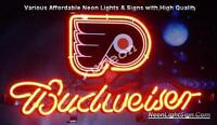 NHL Philadelphia Flyers Budweiser Bud Light Beer Bar Real Neon Sign [FAST SHIP]