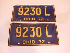 1972 OHIO AUTOMOTIVE LICENSE PLATES 9230L MATCHED SET FORD CHEVY DODGE ORIGINAL