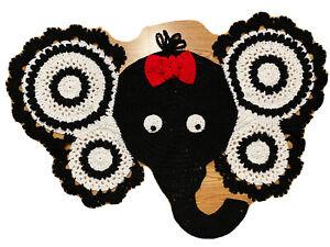 Elephant Rug Mat Crochet Nursery Baby Decor Jungle Black white RED_NEW-Handmade