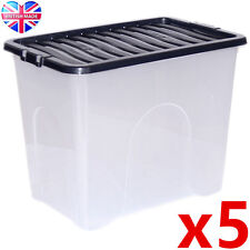 5 x 80L 80 Litre XX Large Plastic Storage Clear Box Strong Stackable Container