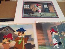 Hanna Barbera Yogi & Boo Boo 3 Production cells, same cartoon w Quickdraw McGraw