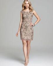 ADRIANNA PAPELL EMBELLISHED MESH BEIGE TANK SHEATH DRESS sz 10