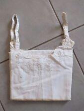+ Chemise de nuit brodée ancienne à bretelle N°4 - bords festonnés 1900 +