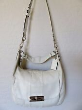 Coach Kristin Cross Body Hobo Bag Ivory Leather Handbag 16787