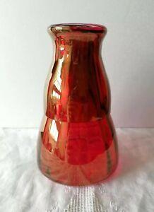 Vintage Bedside Water Carafe & Glass Tumbler Red Iridescent Carnival Glass Set