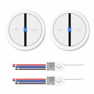 2PCS Funk Lichtschalter mit Empfänger Fernbedienung Wasserdicht Wandschalter LED