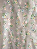 """Vintage SHEER FLOCKED DAISY FABRIC - Neon - 48"""" wide by 75"""" long"""