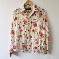 Princess Highway Size 12 Cream Floral Long Sleeve Sheer Button Down Shirt Blouse