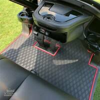 Xtreme Mats Full Coverage Golf Cart Floor Liner Mat - RED - Fits Club Car Models