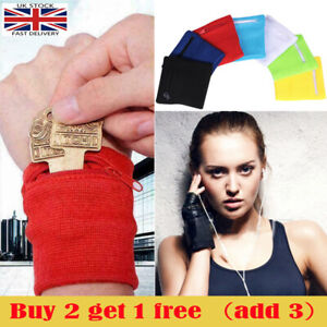 Wrist Wallet Arm Fleece Sport Pouch Band Zipper Running Travel Gym Money Card UK