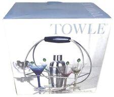 Towle Radius 9 Pc. Martini Set Stir Sticks Martini Stems Shaker & Martini Rack