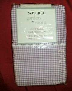 WAVERLY GARDEN ROOM FIELD OF FLOWERS LILAC GINGHAM CHECK 2 STANDARD PILLOWCASES