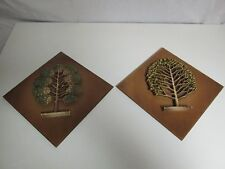 Lot 2 Vintage Danish Modern Wall Plaques Syroco Wood Syracuse Ny Decor Tree