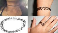 Tattoo Choker Stretch Ring Bracelet Necklace Black Retro Vintage Elastic 90 Boho