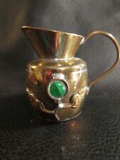 Small Vintage Brass Pitcher Semi-Precious Jade (?) Stones Floral ~ Marked China