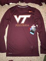 NWT Nike Virginia Tech Hokies Football Mens Dri Fit Long Sleeve Shirt *XS*