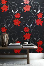 Black, Red, Grey & Silver With Glitter, Angelica Wallpaper by Belgravia Decor