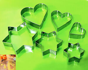 Pack Of 12PC  Heart Shape Star Cookie Cutter Metal Mould Baking Decoration