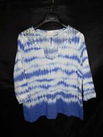 Alfred Dunner 16W Purple White Tie Dye Shirt Keyhole Lace Top 3/4 Sleeve Cotton