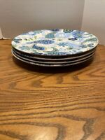 Royal Norfolk RNF124 Blue Green Paisley Stoneware Round  Dinner Plates Set of 4