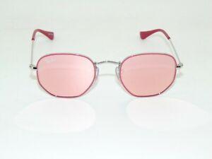 Ray Ban Jr. Hexagonal RJ 9541SN 263/E4 Pink/Silver Mirror Kids 44mm Sunglasses