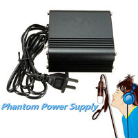 48V DC Phantom Power Supply US Plug For Condenser Recording Microphone 110V-220V