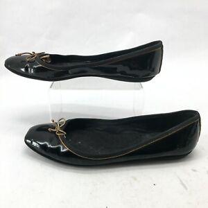 Yves Saint Laurent YSL Casual Bowtie Ballet Flats Womens 38 Black Patent Leather