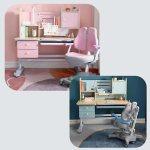 Height Adjustable Children Kids Ergonomic Study Desk Chair Set 120cm Blue Pink A