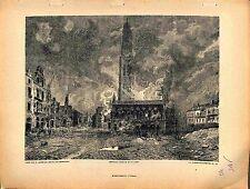 Bombardement Beffroi d'Arras Paul Madeline Peintre Feuerstein Graveur 1915 WWI