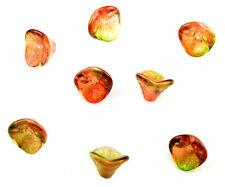 12 Peach & Pear Three Petal Czech Glass Flower Beads 12MM