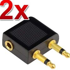 2X Airplane/Airline/Air Plane Travel Headphone/Earphone Jack Audio Adapter 3.5mm