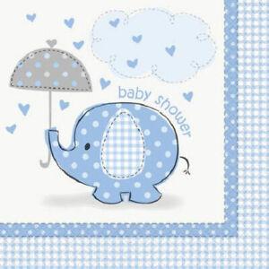 Umbrella Elephant Blue Boy Baby Shower 16 ct Beverage Napkins