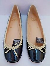 9e6511dc8356 NEW CHRISTIAN LOUBOUTIN Jaws black ivory patent leather ballet flats size 39