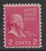 US Scott #806, Single 1938 John Adams 2c FVF MNH