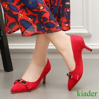 Women's Grace Bowknot Med Kitten Heels Slip On Pointy Toes Work OL Pumps Shoes