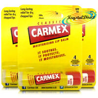 3x Carmex Classic Original Click Stick Ultra Moisturising Dry & Chapped Lip Balm