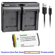 Kastar Battery Dual Charger for Kodak KLIC-8000 & Kodak Z1485 IS Kodak Z612 IS