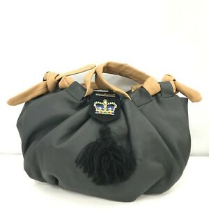 Magenta Bag Medium Hobo Style Slouch Tassel Dark Grey Brown Leather Smart 022381